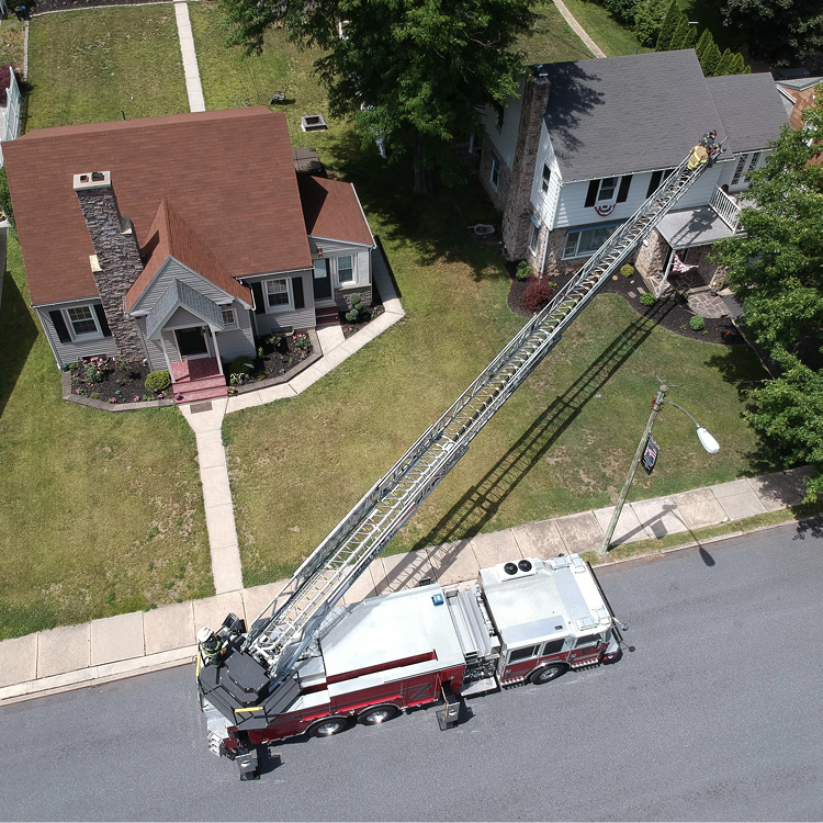 KME built this 123-foot rear-mount aerial ladder for the Westfield (IN) Fire Department.