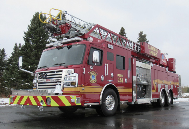 Rosenbauer built this Viper 109-foot aerial ladder quint for the Saratoga Springs (NY) Fire Department with a Waterous CSCU 20 2,000-gpm pump, a 500-gallon water tank, and a 20-gallon foam cell.
