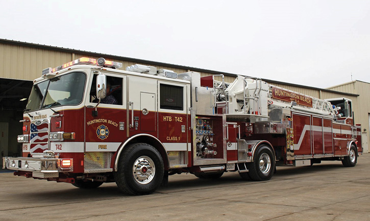 Pierce Manufacturing built this 107-foot midmount TDA quint, called a quiller, for the Huntington Beach (CA) Fire Department.
