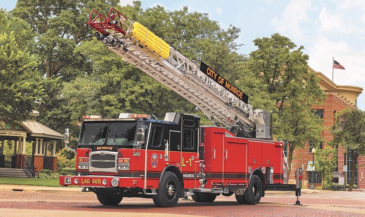 E-ONE built this eMAX 78-foot HP78 aerial ladder quint with a 1,500-gpm pump, 470-gallon water tank, and 30-gallon foam cell for the Monroe Township (NJ) Fire Department.