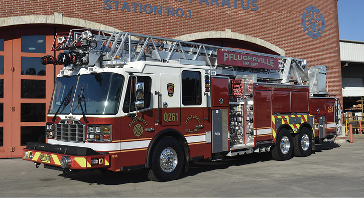 Ferrara Fire Apparatus built this 75-foot rear-mount aerial ladder quint for the Travis County ESD #2/Pflugerville (TX) Fire Department.