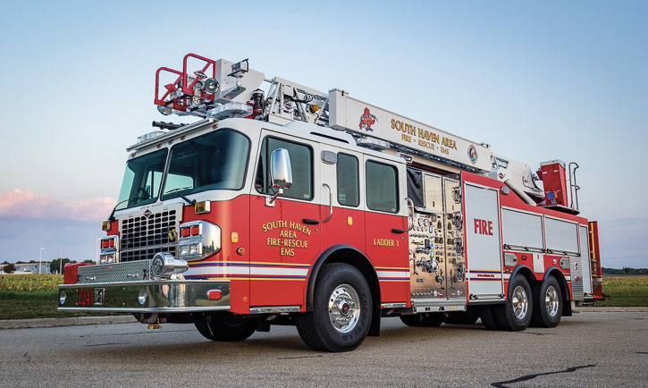 The South Haven (MI) Fire Department had Spencer Manufacturing build a 75-foot aerial ladder quint with an all-polypropylene body, a Waterous 1,500-gpm CSU pump, a Waterous Aquis foam system, a 1,200-gallon water tank, and a 20-gallon foam cell.