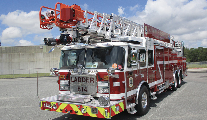 E-ONE built this CR137, a rear-mount 137-foot-long aerial ladder with a 126-foot horizontal reach, for the Midway (SC) Fire Department.