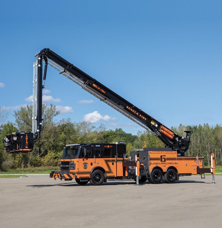 Rosenbauer built this 115-foot articulating platform T-Rex for the Seneca Nation (NY) Fire Department.