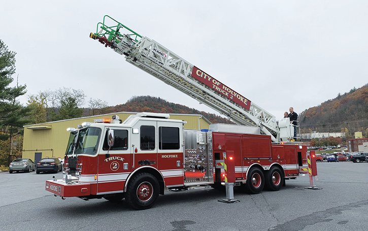 The Holyoke (MA) Fire Department had KME build this AerialCat 103-foot four-section aerial ladder on a tandem rear axle.
