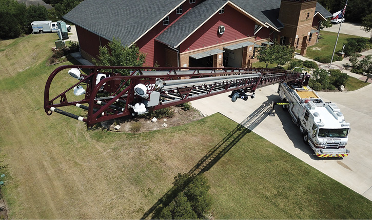 Pierce Manufacturing builds the Ascendant 107-foot aerial ladder with a horizontal reach of 100 feet on a single rear axle.