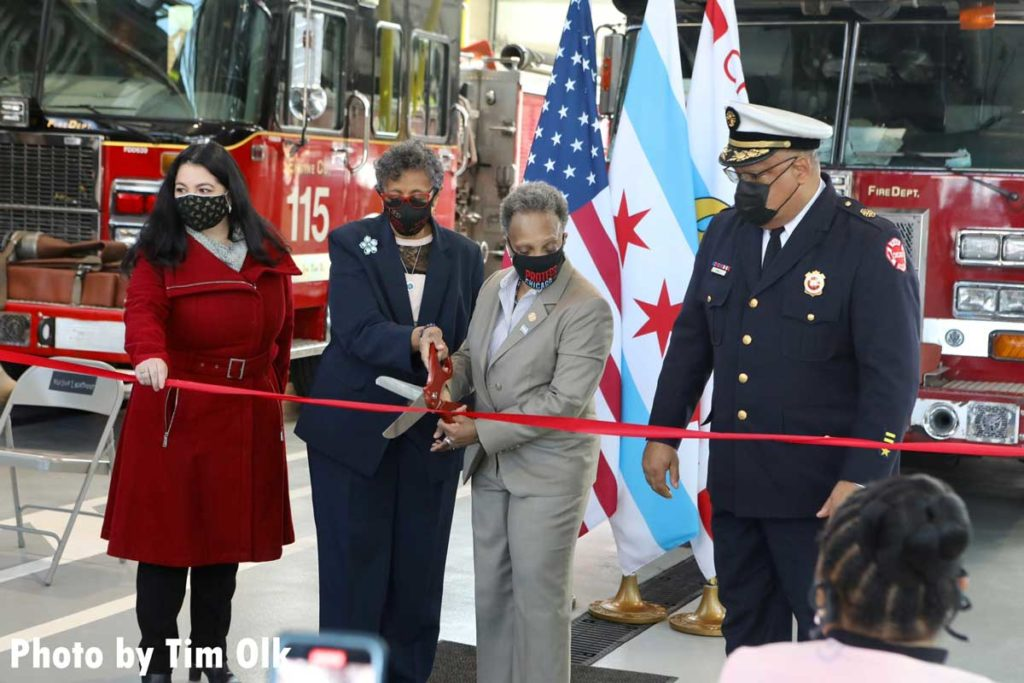 Chicago Mayor Lori Lightfoot and other dignitaries at the ribbon cutting for Chicago Fire Department Engine Company 115