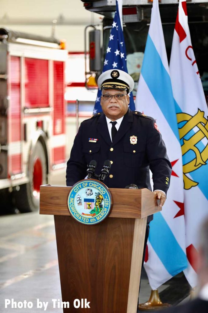 Chicago Fire Commissioner Richard C. Ford II speaks at ribbon cutting for Chicago Fire Department Engine Company 115