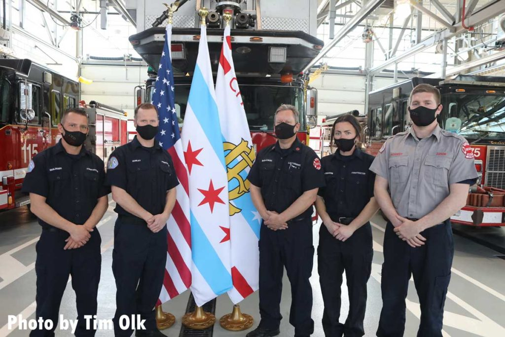 Chicago fire members at ribbon cutting for Chicago Fire Department Engine Company 115