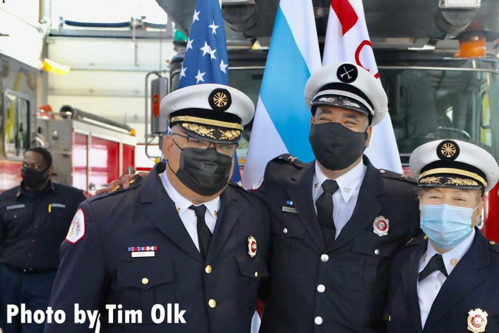 Chicago fire officials at ribbon cutting for Chicago Fire Department Engine Company 115